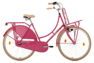 Velo hollandais 28 tussaud 3 vitesses rose avec porte bagages avant tc 54 cm ks cycl