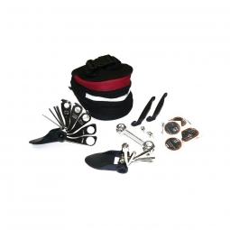 Kit reparation chambre air et outils velo dans sacoche de selle
