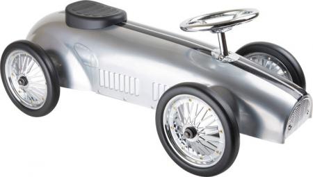 porteur enfant voiture de rallye argentee