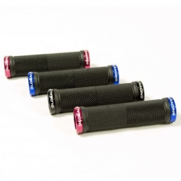 Poignees global racing diamond grip flangeless 130mm blk red blue 130