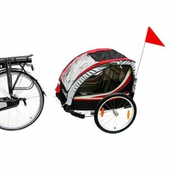 Remorque vélo double pour enfant avec kit piéton