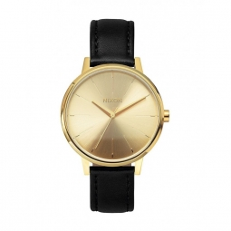 montre nixon kensigton leather gold