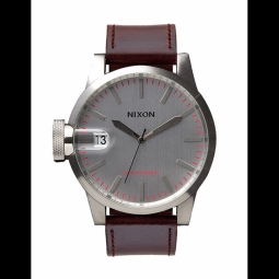 montre nixon chronicle silver brown
