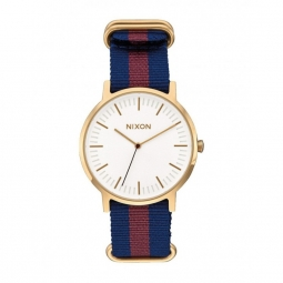 Montre Nixon Porter Nylon - Gold / White / Red