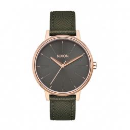 Montre Nixon Kensigton Leather - Rose Gold / Green