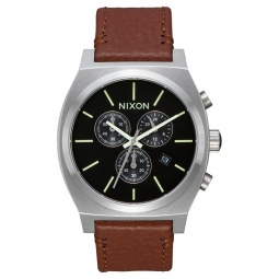 Montre nixon time teller chrono leather black saddle