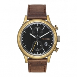Montre nixon station chrono leather brass black taupe