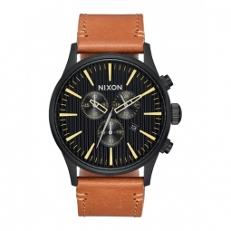 montre nixon sentry chrono leather black stamped brown