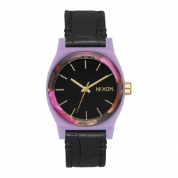 Montre nixon time teller leather magenta mix