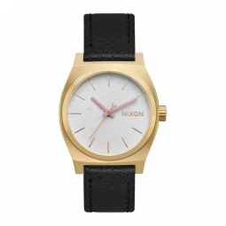 montre nixon time teller leather gold soft pink