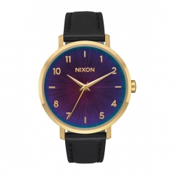montre nixon arrow leather gold black rainbow