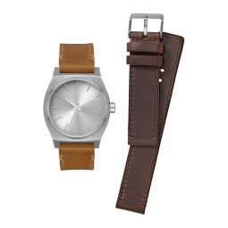 montre nixon time teller pack all silver brown tan