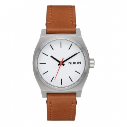 Montre nixon medium time teller leather white saddle