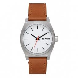 montre nixon medium time teller leather white saddle