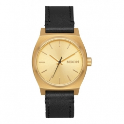 Montre nixon medium time teller leather gold black