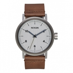 Montre Nixon Stark Leather - Silver / Saddle