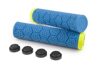 Poignees d trix sixpack bleues lock on jaune fluo