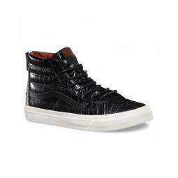 chaussures vans u sk8 hi slim zip croc leather black 36 1 2