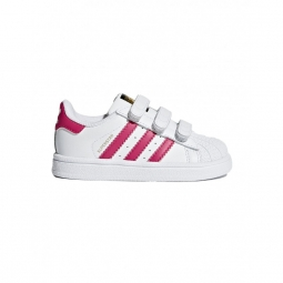 Chaussures adidas superstar cf l white pink 20