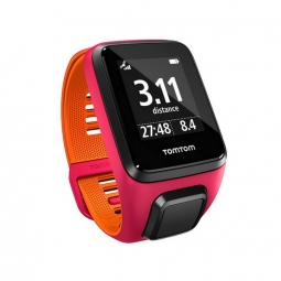 montre gps tomtom runner 3 cardio fushia orange bracelet small