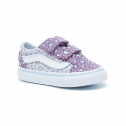 chaussures vans t old skool v 2 tone leaopard baby blue diffused orchid