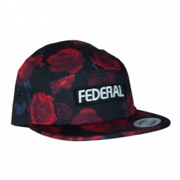 casquette federal patch logo 5 panel black red rose