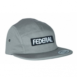 casquette federal patch logo 5 panel grey