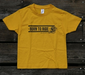 T shirt velovert born to ride enfant jaune 4 ans