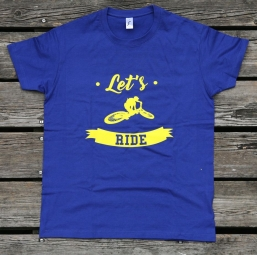 T shirt velovert let s ride bleu l