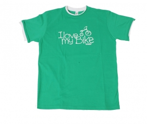 T shirt velovert i love my bike vert xl