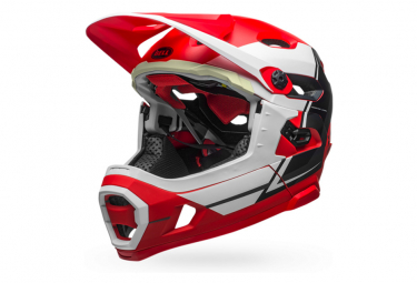 Bell Super DH Mips Helmet with Removable Chinstrap Red White