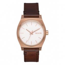 Montre nixon medium time teller leather rose gold white