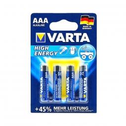 Lot de 4 piles alcaline, LR03 AAA 1.5 V high energy, VARTA