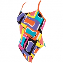 Maillot 1 piece arena espresso challenge back high 32