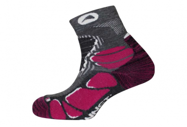 Pair of Monnet Trek Mid Light Gray / Pink Socks