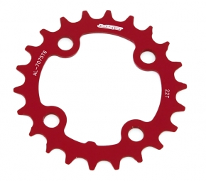 Msc plateau alu cnc 4 branches 64 mm 22 dents rouge