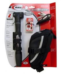 RAVX Kit BIKE BASIC /Pompe à main/Kit réparation/Multi/Sacoche