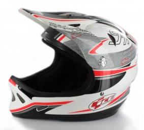 Casco integral Ice Gris Blanco Rojo