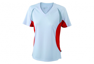 James et Nicholson t-shirt running respirant JN390 - blanc et rouge - FEMME