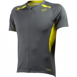 FOX Maillot AIRCOOL ZIP Manches Courtes Gris Charcoal