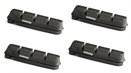 x4 Cartouches de Patins de Freins SwissStop FLASH PRO ORIGINAL Black Shimano/Sram (jantes aluminim)