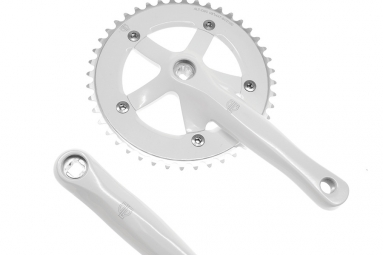 BLB Pédalier TRACK 165mm, 48 Dents, Blanc