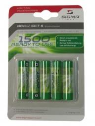 SIGMA Pack de Piles Accus rechargeables LR6 (5pièces) 1300mh NiMH