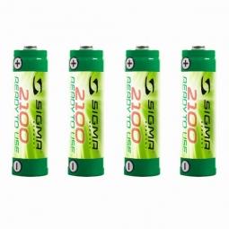 SIGMA Pack de Piles Accus rechargeables LR6 (4pièces) 2100mh NiMH