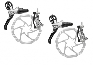 Avid Elixir X0 Trail Disc Brakes + 160mm / 180mm HS1 Rotors - Silver 2014 (Pair)