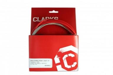 CLARKS Kit Cable + Gaine de Dérailleur Rouge