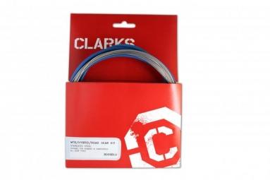 CLARKS Kit Cable + Gaine de Dérailleur Bleu