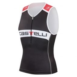 Castelli haut triathlon core tri top noir blanc rouge s