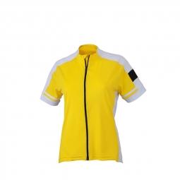 Maillot cycliste zippe femme jn453 jaune s