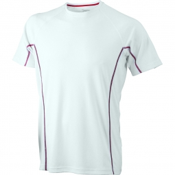 James et nicholsont shirt respirant running jn421 blanc red homme course a pied anti